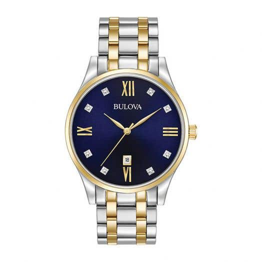 Bulova Men's 8-Diamond Blue Dial Watch, Stainless Steel with Goldtone Accents 98D130