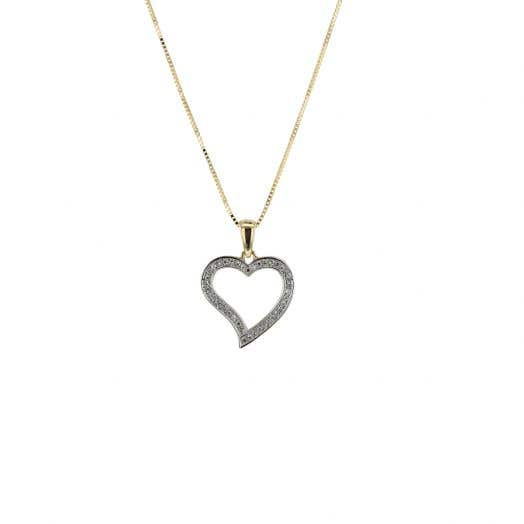 Diamond Pavé Heart Pendant Necklace, 14K Yellow Gold, .08TDW