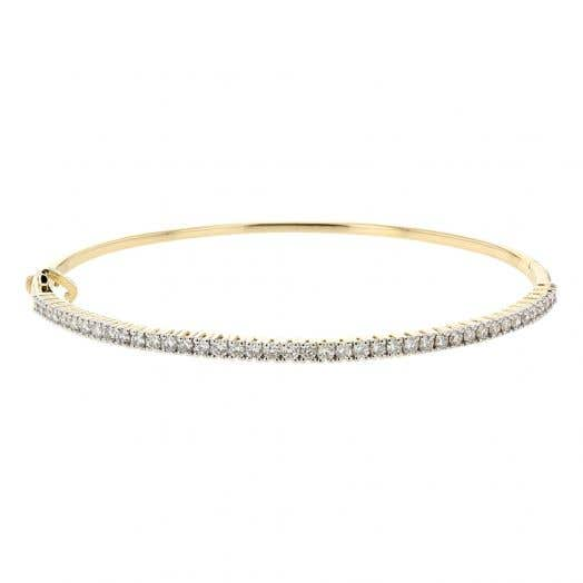 Diamond Bangle Bracelet, Hinged, 14K Yellow Gold, 1.01TDW