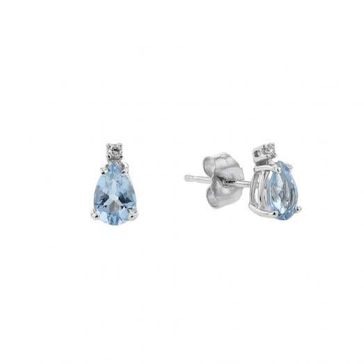 Aquamarine and Diamond Accent Stud Earrings, Pear, 14K White Gold, .02TDW