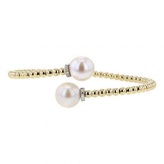 Freshwater Cultured Pearl and Diamond Wrap Bracelet, 14K Yellow Gold, .08TDW