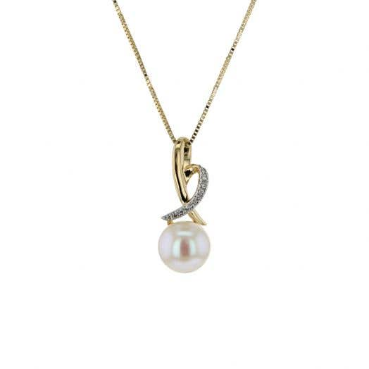 14K Yellow Gold Freshwater Cultured Pearl and Diamond Pendant Necklace
