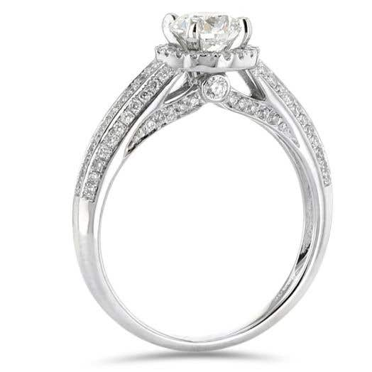 Diamond Halo Engagement Ring, 14K White Gold, .70CT, .41TDW