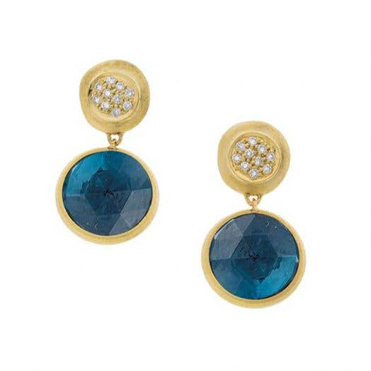 "Marco Bicego ""Jaipur"" London Blue Topaz and Diamond Drop Earrings, 18K Yellow Gold, .15TDW"