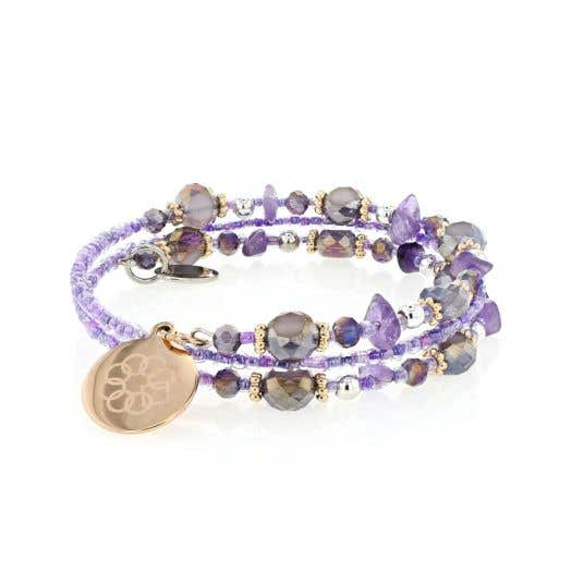 EMBRACE THE DIFFERENCE® Wrap Bracelet - AMETHYST, GOLD, AND SILVER TONE BEADS