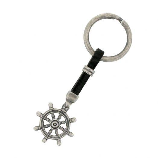 Sterling Silver Black Leather Ship Wheel Key Chain