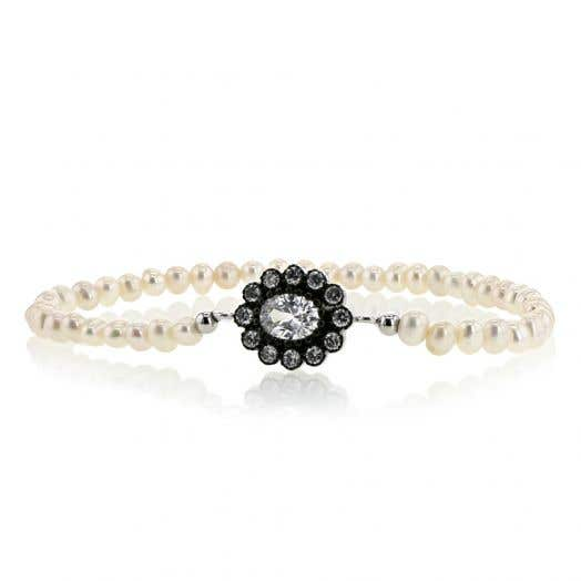 Freshwater Cultured Pearl Stretch Bracelet with Black and White Crystals, Rose Gold over Sterling Silver