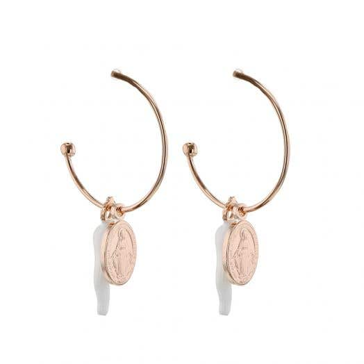 CHARM HOOP EARRINGS, WHITE ITALIAN CORNICELLO, ROSE GOLD OVER STERLING SILVER