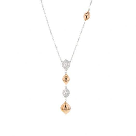 Two Tone CZ Droplet Necklace, Cubc Zirconia, Sterling Silver & Rose Gold, 18 Inch