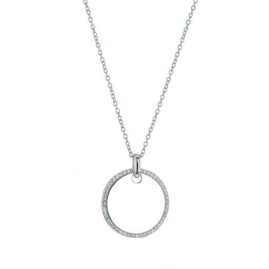 Sterling Silver Circle Pendant, CZ Halo, Engravable, 18 Inch Adjustable Chain