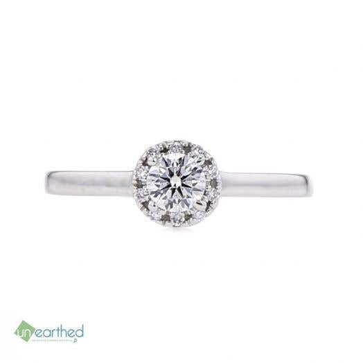 UNEARTHED LAB GROWN DIAMOND HALO ENGAGEMENT RING 1/3 CT ROUND, 10K WG