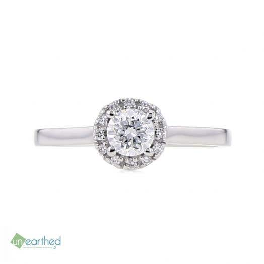 UNEARTHED LAB GROWN DIAMOND HALO ENGAGEMENT RING 1/2 CT ROUND, 10K WG