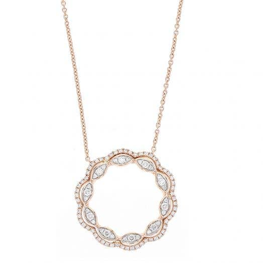 Open Circle Pendant Necklace, 14K Rose Gold, TWT.47