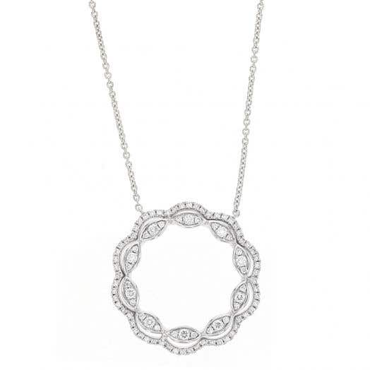 Open Circle Pendant Necklace, 14K White Gold, TWT.48