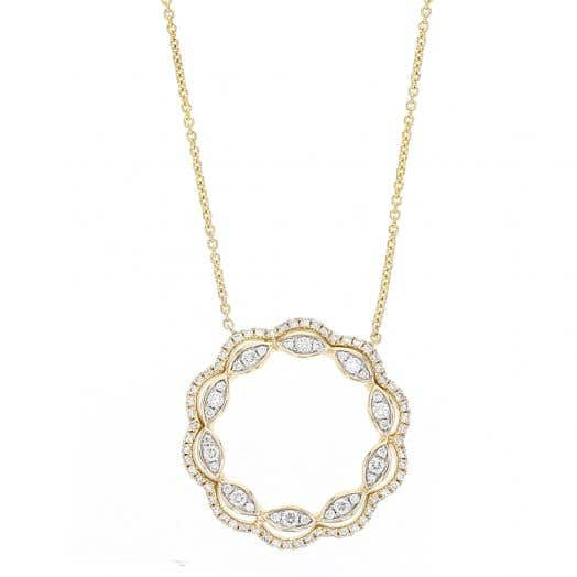 Open Circle Pendant Necklace, 14K Yellow Gold, TWT.48