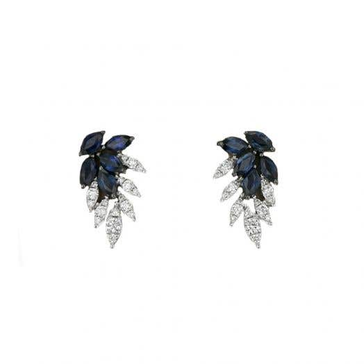 Sapphire and Diamond Earrings, 14K White Gold, TWT.28
