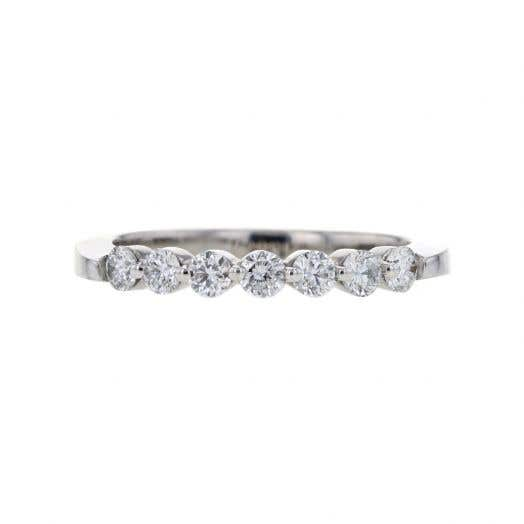 UNEARTHED LAB GROWN 7 STONE DIAMOND RING 1/2 CT ROUND 10K WG