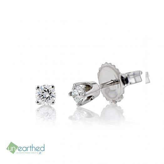 UNEARTHED LAB GROWN DIAMOND EARRINGS 1/5 CT ROUND 10K WG