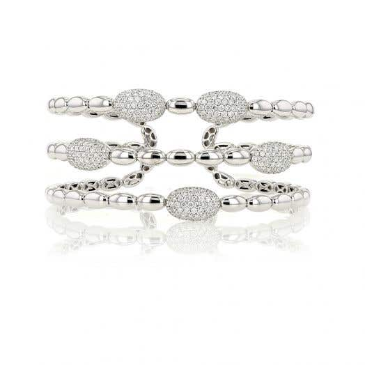 18k white gold diamond flexible bracelet