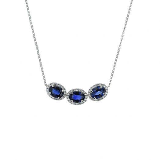 Three Stone Sapphire Pendant with Diamond Accent  Halos in White Gold