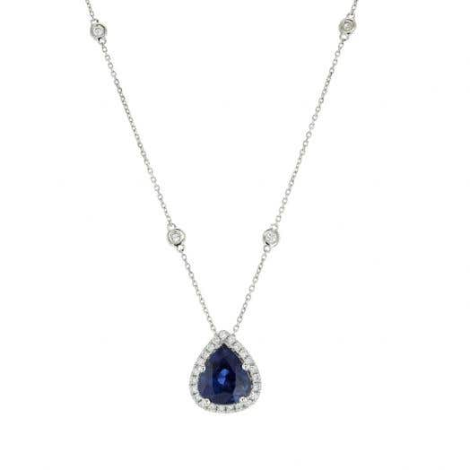 Diamond Accented Sapphire Pear Pendant Necklace with Diamond Stations, Platinum