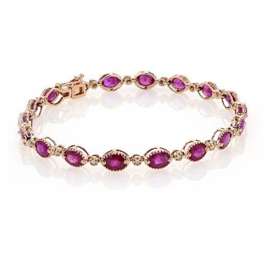 Ruby and Diamond Accented Bracelet, 14K Rose Gold, TDW.13
