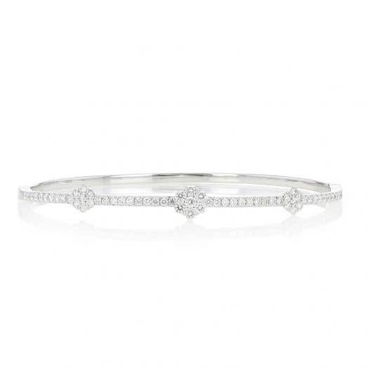 Diamond Bangle, 14K White Gold, TWT.96