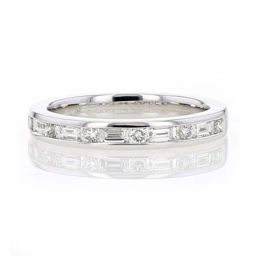 14K White Gold Channel Set Baguette & Round Diamond Band Ring, TWT .51