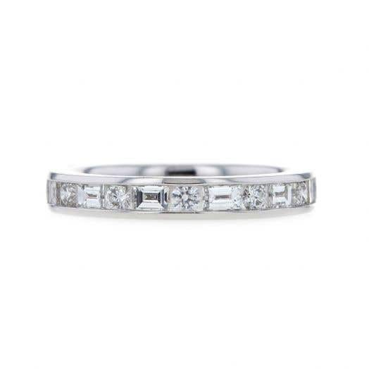 14K White Gold Channel Set Baguette & Round Diamond Band Ring, TWT .98