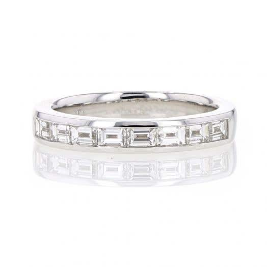 14K White Gold Channel Set Baguette Diamond Band Ring, TWT .75