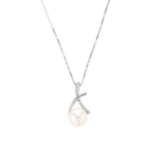 """14K White Gold Freshwater Cultured Pearl Diamond """"X"""" Pendant Necklace"""