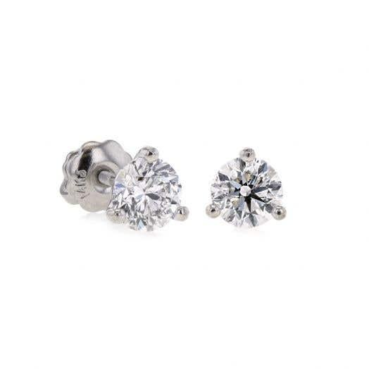 white gold studs with three prong set diamond rounds