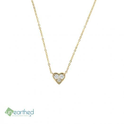 Unearthed Lab Grown Diamond Heart Pendant Necklace, 10K Yellow Gold, TWT.14