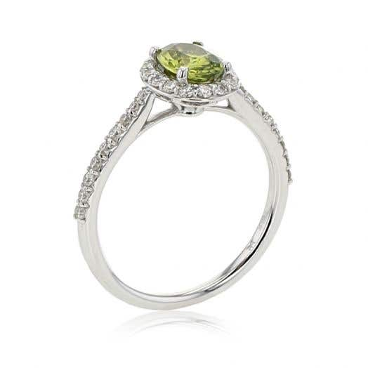 Green Sapphire and Diamond Halo Ring, 14K White Gold, TWT.38