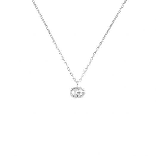 Gucci 'Running G' White Gold and Diamond Necklace
