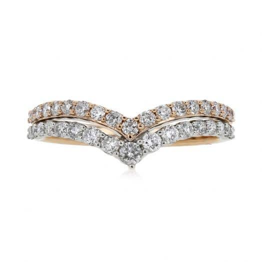 14K Gold Two-Tone Double Row Half-Eternity Diamond Curved Band