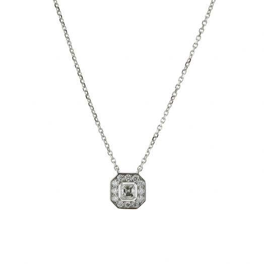 14K White Gold Asscher Diamond Necklace with Halo