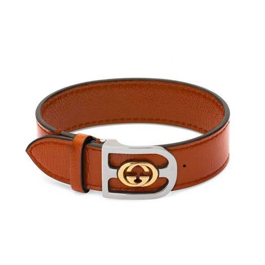 Gucci Orange Leather Bracelet with Interlocking G's