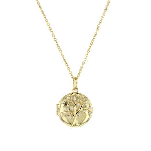 yellow tone round locket with raised tree motif and cubic zirconia accent leafs, suspended from a yellow tone chain