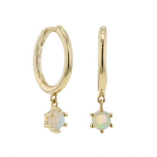 Little Luxuries 14K Yellow Gold Opal Dangle Mini Hoop Earrings