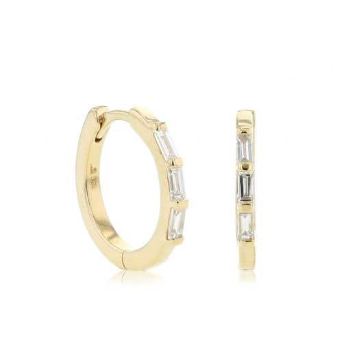 Little Luxuries 14K Yellow Gold Baguette Diamond Mini Hoop Earrings