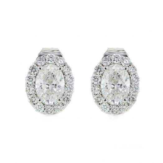 14K White Gold Oval Diamond Halo Stud Earrings, TWT 1.04