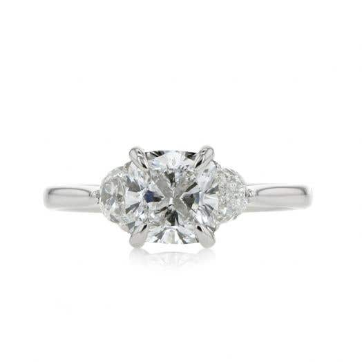 Platinum Three Stone Cushion Cut Engagement Ring with Half Moon Accents