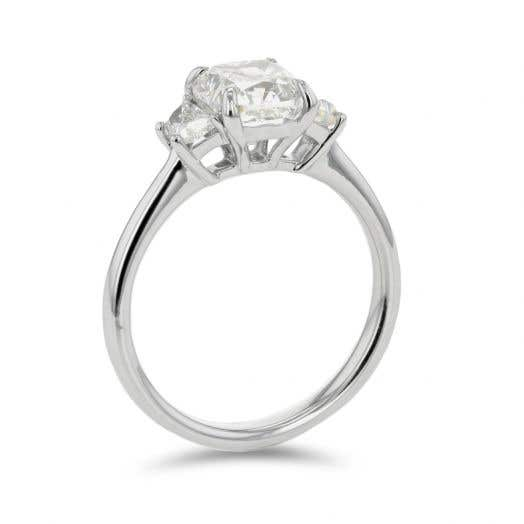 2.02 Cushion-Cut Three Stone Engagement Ring with Trapezoid Side Stones in Platinum