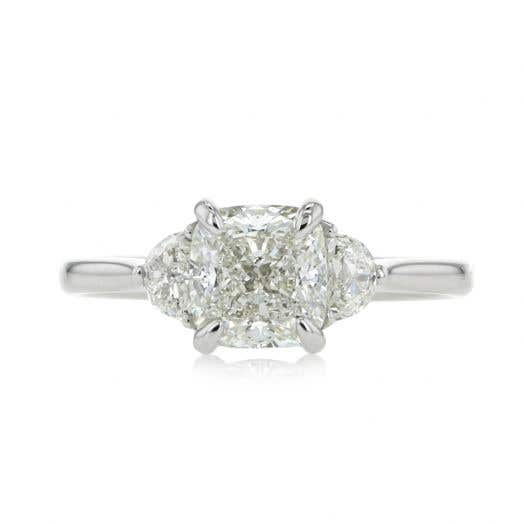 1.71 Cushion-Cut Three Stone Engagement Ring with Half Moon Side Stones in Platinum
