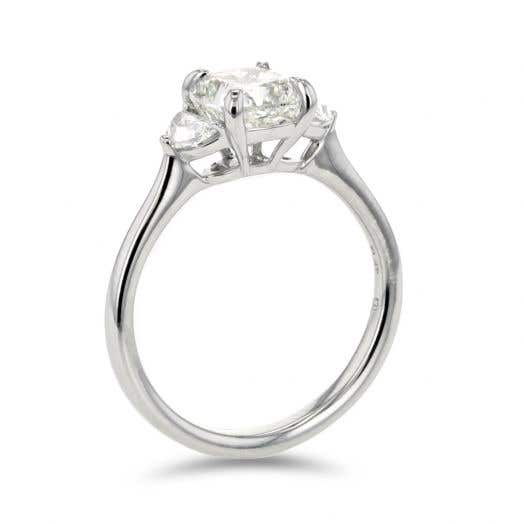 Cushion-Cut Three Stone Engagement Ring with Half Moon Side Stones in Platinum