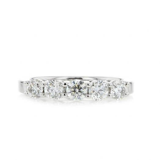 14K White Gold Five Stone Diamond Band