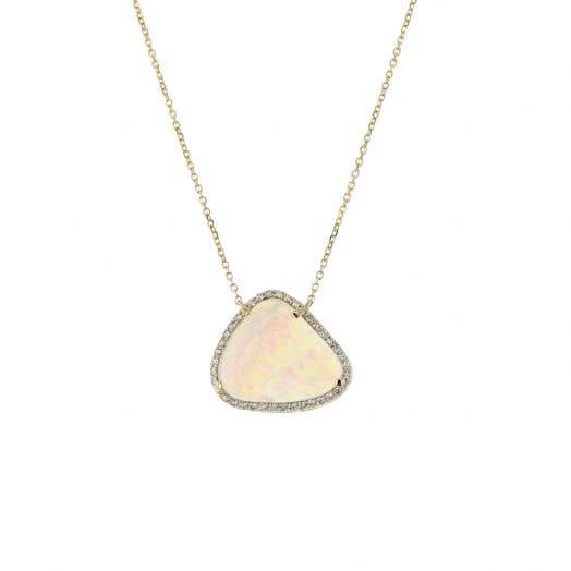 14K Yellow Gold Opal and Diamond Halo Pendant Necklace