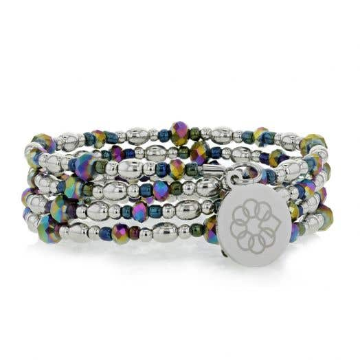 Embrace the Difference Iridescent & Silver Beaded Wrap Bracelet