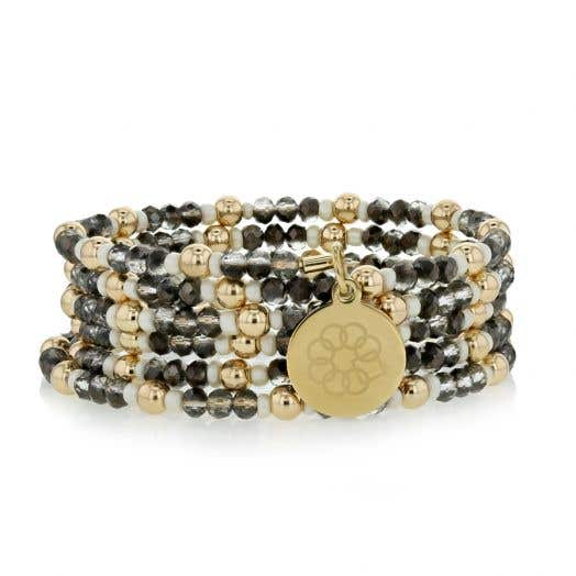 Embrace the Difference Gold, White and Black Beaded Wrap Bracelet